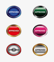 Set of button Approved icon