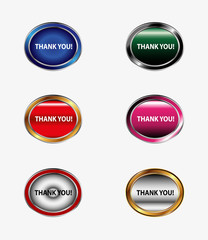 Thank You Button icon set vector