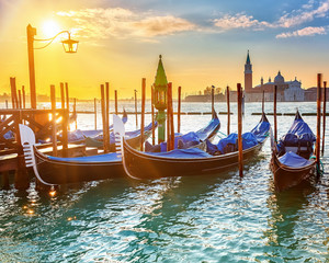 Venetian gondolas at sunrise