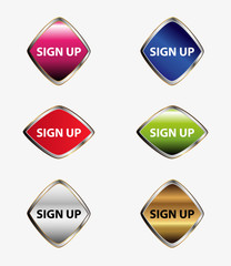 Web buttons sign up vector set