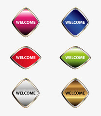 Welcome sign button set vector
