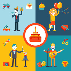 Gift, Party, Birthday Businessman character concept icons set
