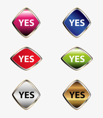 Yes icon set vector