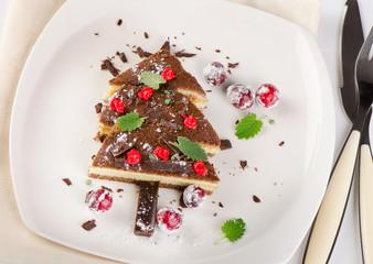 Tree made of christmas sweet cake