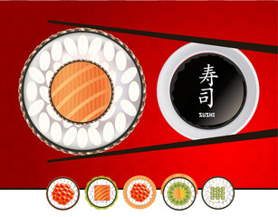 Sushi Fresh fish and collection rolls on red background