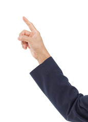 Man hand pointing isolated on white background, clipping path