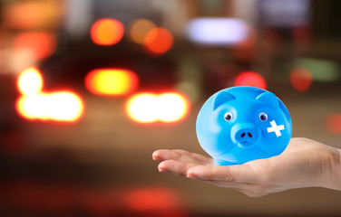 Saving money concepts for road accident