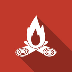 bonfire icon with long shadow