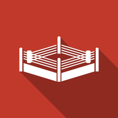 boxing ring icon with long shadow