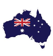 Flag of Australia overlaid on map