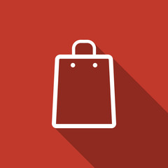 shopping bag icon with long shadow