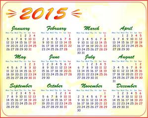 calendar 2015, vector illustration