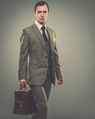Well-dressed young businessman with a briefcase