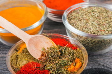 Close up cooking ingredients,  spices, herds