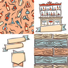 Bar design elements: label, patterns and ribbons. Vector.