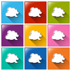 Icons with empty cloud templates