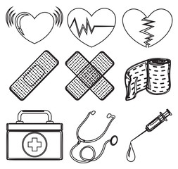 Doodle design of the different medical tools