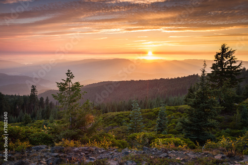 sunset from a mountain top