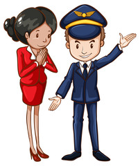 A simple drawing of an air hostess and a pilot