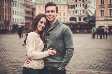 Young couple in old european town