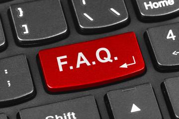 Computer notebook keyboard with FAQ key