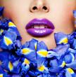 beautiful woman lips. professional makeup