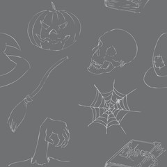 Halloween doodles seamless pattern