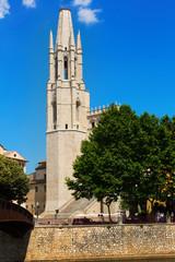 Collegiate Church from Onyar river. Girona