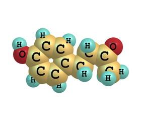 Raspberry ketone molecule isolated on white