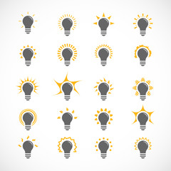 Set of 25 ligt bulb icons, symbol of ideas