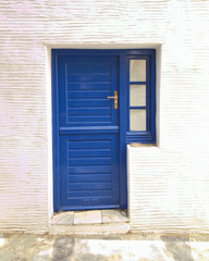 Greek island, blue door on white wall