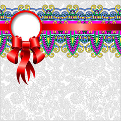ethnic ornamental pattern with silk ribbon and place for your co