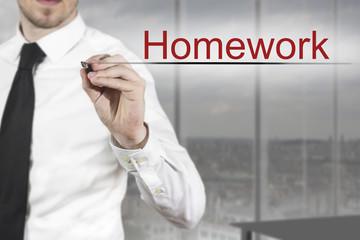 businessman writing homework in the air