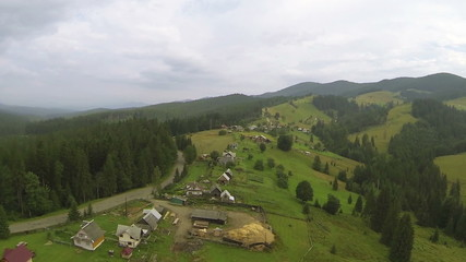 small village in mountains. Aerial  shot