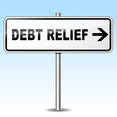 debt relief directional sign