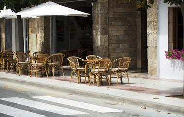 Summer cafe in street.  Spain