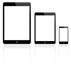 Black Tablets And Smart Phone Vector Isolated
