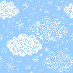 Seamless pattern with winter sky