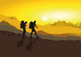 Wanderer zu Fuß in den Bergen