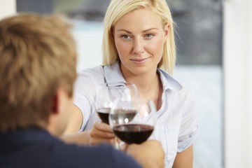 Mid adult couple toasting with red wine
