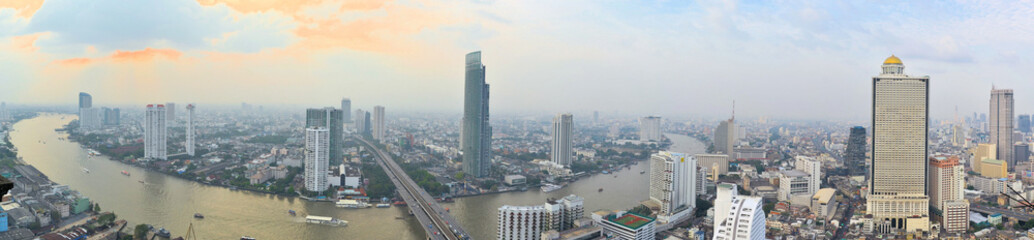 Bangkok Skyline with the Chao Phraya river