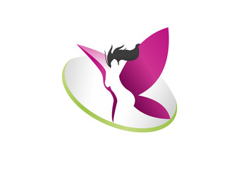 Logo Abstrac Human woman Butterfly icon, symbol
