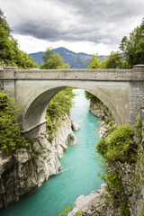 Bridge on Soca river in Kobarid