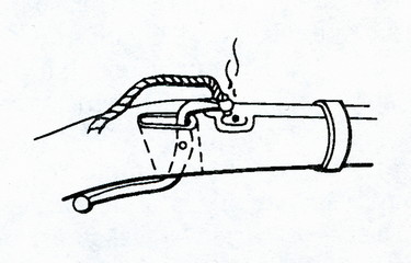 Primitive matchlock (serpentine lock) with burning match