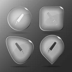 Felt pen. Glass buttons. Vector illustration.