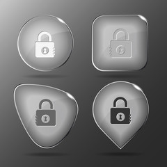 Closed lock. Glass buttons. Vector illustration.