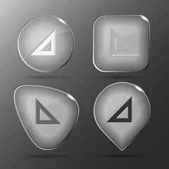 Triangle ruler. Glass buttons. Vector illustration.