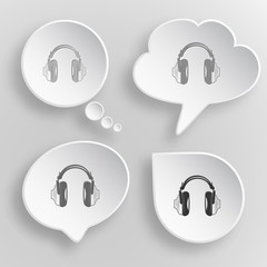 Headphones. White flat vector buttons on gray background.