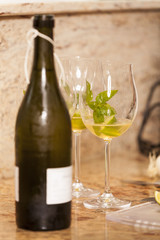 White Wine Bottle with Two Wine Glasses
