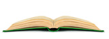 Fototapety open book in green cover on a white background